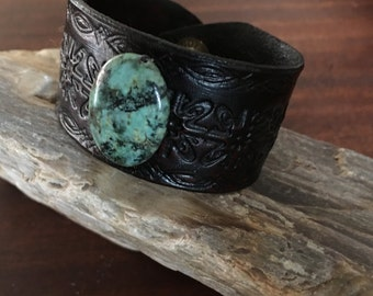 Handmade Leather Stamped Cuff With African Turquoise Cabochon  RM449