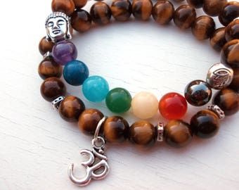 Yoga Om Buddha bracelets, Set of 2 Buddha Om Lotus bracelet, Healing Chakra bracelet, Om bracelet, Seven Chakra bracelet, Tiger Eye bracelet