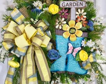 Blue and Yellow Wildflower Spring or Summer Mesh Door Wreath