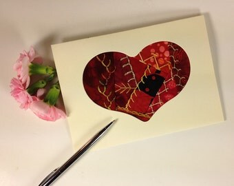 Hand Embroidered Heart Card, 50th Anniversary Card, Handmade Fabric Valentine Card, Crazy Quilt Greeting Card, Fiber Art Greeting Card, Love