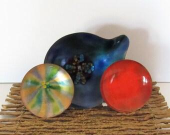 Bovano Bowls and Ashtray, Group of 3, Enameled Metal