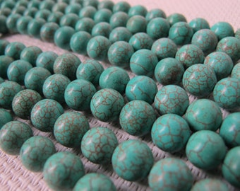 7-8mm Turquoise Round Beads 57 pcs S289