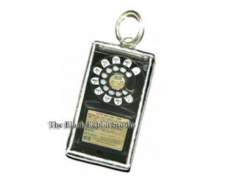 Vintage Telephone Phone Pendant, Vintage rotary phone Pendant, phone pendant, telephone necklace
