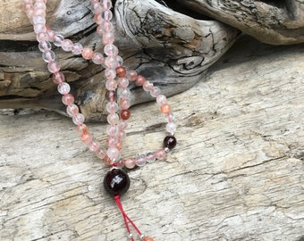 Red Quartz Buddhist Mala with Garnet - Mala Meditation Prayer Beads Yoga Inspired Necklace B220