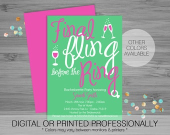 Fling Before the Ring Bachelorette Party Invite - Custom - Printable