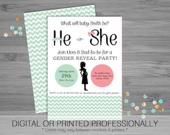 He or She Gender Reveal Party Invitation - Custom - Printable