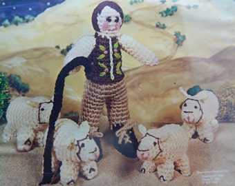 "Vogart Crafts Christmas Crochet Kit Shepherd Scene Shepherd 9""high Sheep 3"" high Staff 8"" high  Complete with All Supplies NIP Vintage"
