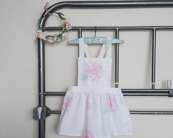 Girls Vintage Rose Pinafore (1 - 5 years) - Made to order - Handmade - Girls Dress - Pinafore - Vintage Pinafore - Toddler Dress