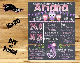 First Birthday Chalkboard sign girl 1st birthday owl chalk board photo prop customized first birthday poster digital file or printed