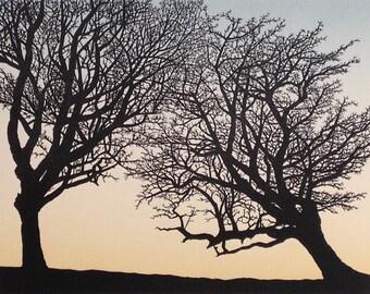Balance: hawthorn trees, friends
