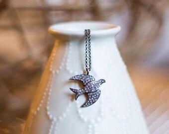 Pave diamond dove necklace