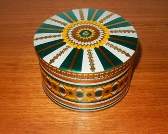 Small Vintage Tin with Green, Yellow, White and Gold Pattern