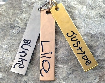 Personalized Custom Handwriting Jewelry Vertical Bar Necklace / Signature Jewelry / Memorial Jewelry / Mommy Mother Jewelry