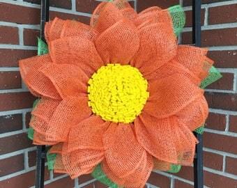Burlap Wreath, Burlap Sunflower, Sunflower Wreath, Flower Wreath, Spring Front Door Wreath, Summer Front Door Wreath, Handmade Wreath