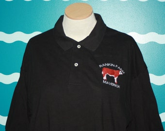 Custom Hereford Polo shirt - Hereford farm custom polo shirt - Add your farm name text to a Hereford cow design