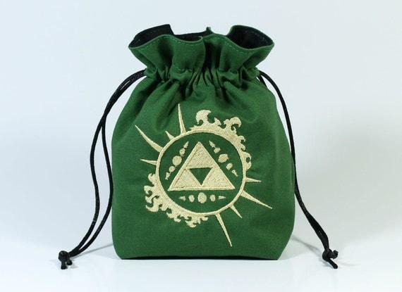 SALE Sunburst Triforce Drawstring Bag, Dice Bag