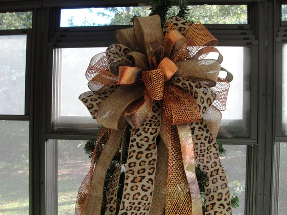 Leopard and burlap tree topper bow