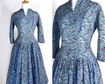 Vintage 1950s Dress | 50s Floral Drop Waist Party Dress with Full Skirt | Light Blue and Lavender Purple | S M