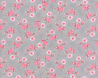 1/2 Yard - Sakura Sukoshi Blossoms Ash Grey Fabric - 33173 16
