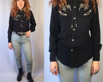 Vintage 1960's H Bar C Western Garbadine Shirt Pearl Snap Rockabilly