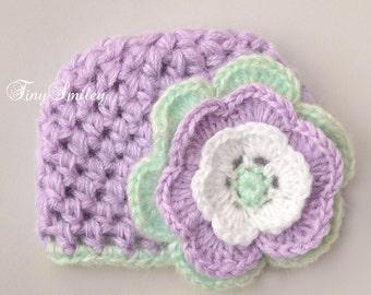 Lilac Baby Hat, Crochet Baby Hat, Newborn Girl Hat, Newborn Hospital Hat, Mohair Baby Hat, Mohair Baby Outfit, Lilac Baby Girl Hat, Hat Girl