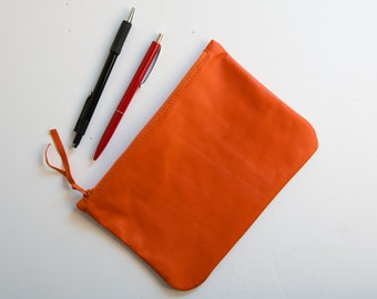 leather zipper purse with remote corner smooth cosmetic pouch clutch pencil bag small wallet