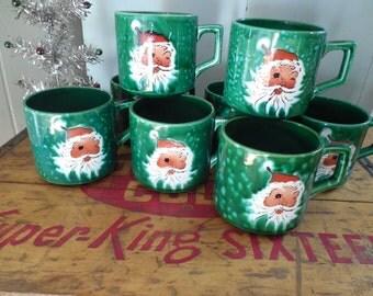 Retro Lefton Winking Santa Mugs...set of 8....Japan