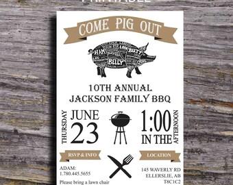 Pig Roast BBQ Invitation, Potluck Invitation, I do BBQ, Engagement BBQ Party, Birthday Barbecue, Barbecue Invitation