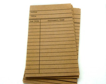 Kraft Library Card Embellishments - Library Cards - Due Date Cards - Journaling Embellishments - Library Return Cards - Journaling Cards