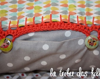 cotton cushion cover with crochet
