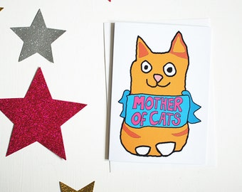 From the cat card - ginger cat gift - crazy cat lady cards - fur baby mother's day card from ginger tom cat - illustrated greetings cards