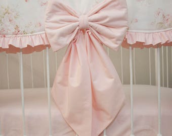 Light Pink Baby Pink  Crib / Cot Bows, Nursery Bows, Curtain Tie Back, Nursery Wall Decor