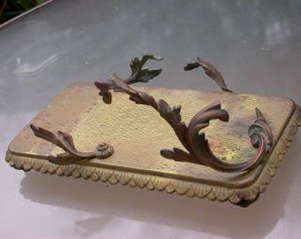 French 19th century antique art nouveau large  bronze tray leaves show tray home docor heavy bronze Paris antique statue base holder