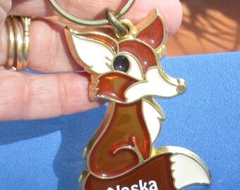 Retro Fox Alaska Souvenir Stained Glass Look Keychain
