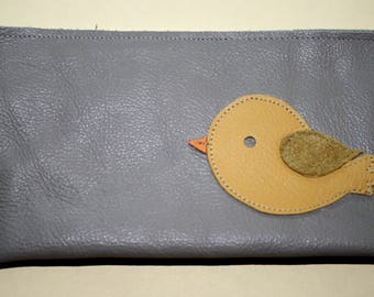 Genuine Leather Checkbook Cover, Gray with Yellow Bird