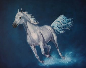 Lambent - White Horse on Blue - Greetings Card Fine Art Print
