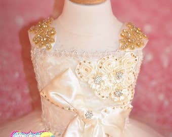 Ivory and Gold Satin Rosette and Rhinestone Flower Girl Dress/Wedding/Flower Girl/Photography Prop/Pageant Wear