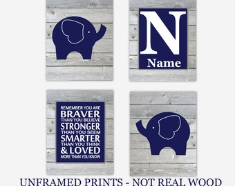 Baby Boy Nursery Wall Art Navy Blue Elephants Remember You Are Braver Personalize Prints Rustic Farmhouse Safari Jungle CHOOSE COLORS