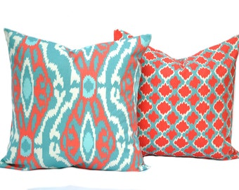 Two Premier Prints coral pillow cover, Home decor, decorative pillow, throw pillow, coral pillow, turquoise pillow