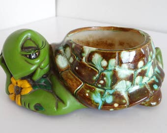 Planter Turtle Glazed Green Brown