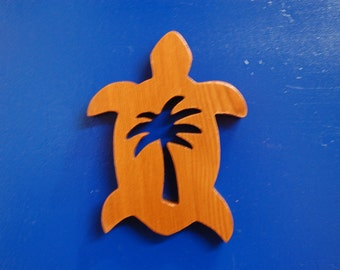 HAWAIIAN PALM TREE Turtle Magnet...  Original design, hand crafted from exotic wood