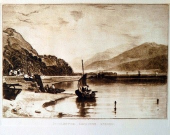 Antique Print  Brown Joseph Mallord William Turner Inverary Pier Scotland Unframed