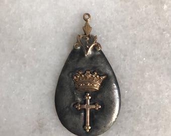 Cross, Bunny, Bee Soldered  Drop Pendant Necklace, Jewelry, Handmade, Soldered Charm
