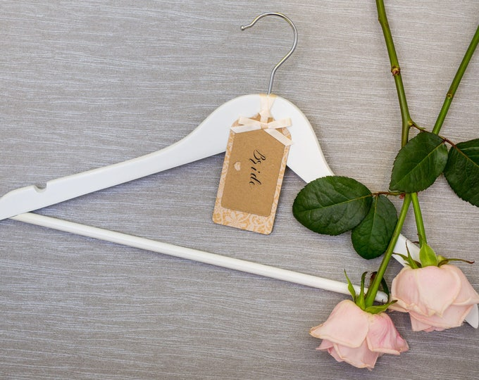 Wedding Hanger with Personalised Floral Lace Kraft Card Label