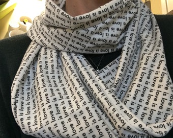 Love is Love Black & White Jersey Knit Infinity Scarf