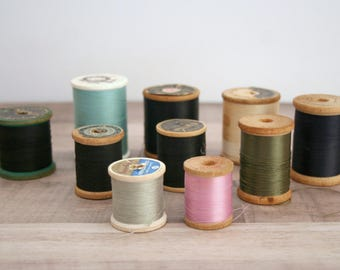 Vintage Thread, Vintage Sewing Thread, Lot of 10 Spools of Thread, Mercerized Cotton, Belding, Star, Clarks, Antique Sewing Thread Spool