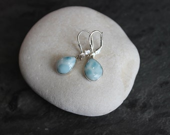 Teardrop Larimar Dangle Earrings, Sterling Silver, Leverback