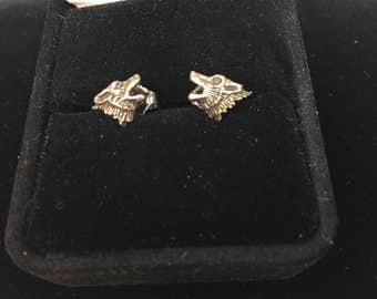 Vintage 1970s WOLF Wolves sterling post Earrings