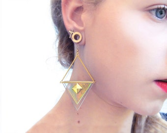 Holographic earrings with gold pyramids | Glass triangle earrings GOLD PYRAMID | Oversize triangle earrings | Hipster grunge 90s earrings