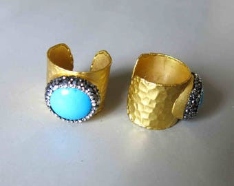 Pave Rhinestone Rings With Turquoise Inlay- B1631